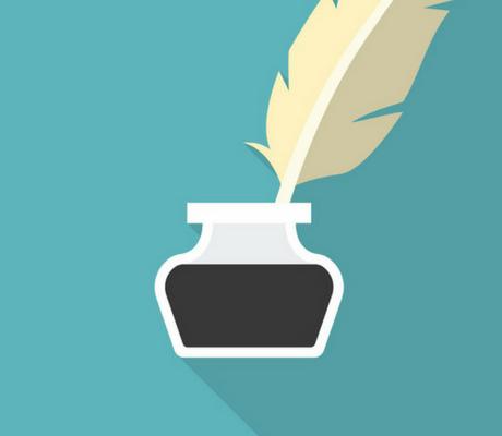 Immagine stilizzata di una piuma e di una boccettina d'inchiostro